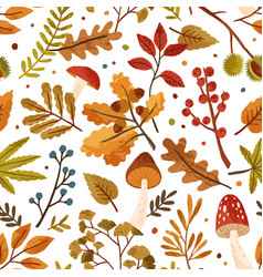 Seamless pattern with autumn leaves and tree vector