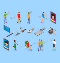 Selfie isometric icons set vector