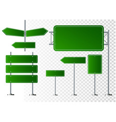set of road signs isolated on transparent vector image