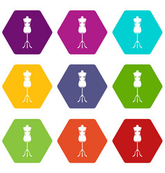sewing mannequin icon set color hexahedron vector image