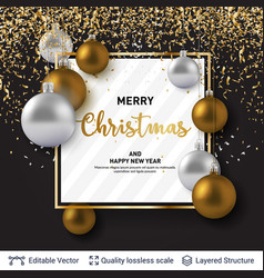 Shiny christmas balls and text on dark background vector