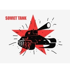 Silhouette of the Soviet tank against red vector