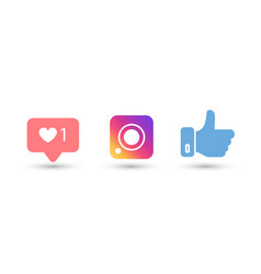 social media color icons on white background vector image