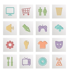 square media icons vector image