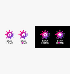 Stay home logo icon sticker for covid-19 virus vector