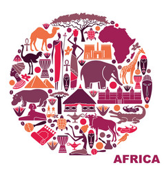 Symbols of africa in the form of a circle vector
