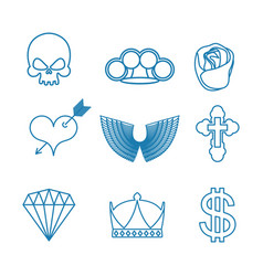 tattoo set of linear style skull and brass vector image