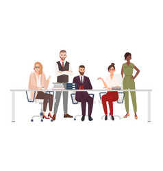 Team of smiling office workers sitting at desk and vector