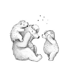 Teddy bears family mother dad playing with cubs vector