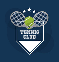 tennis club racket ball banner stamp design vector image