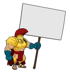 Tough spartan or trojan holding sign board vector