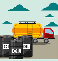 transport truck tanker and barrels oil industry vector image