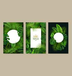 Tropical leaves frames set vector
