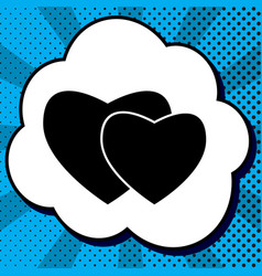 two hearts sign black icon in bubble on vector image