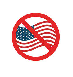 usa flag with forbidden sign vector image