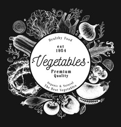 vegetables hand drawn on chalk vector image