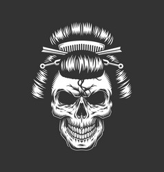 Vintage geisha skull with traditional hairstyle vector