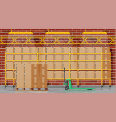 warehouse interior with goods and container vector image