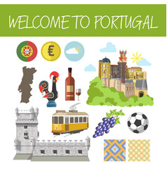 welcome to portugal promo banner with national vector image