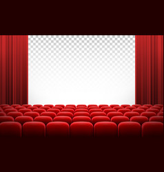 White cinema theatre screen with red curtains and vector