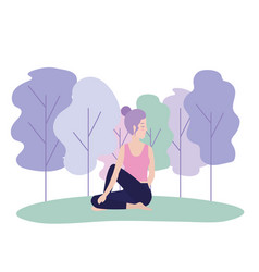 woman doing yoga exercise posture vector image