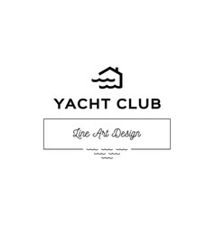 yacht club logo template house and waves simple vector image