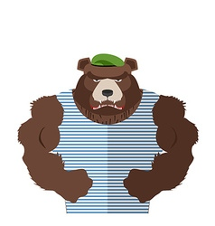 Angry bear in striped vest Russian bear defender vector image vector image
