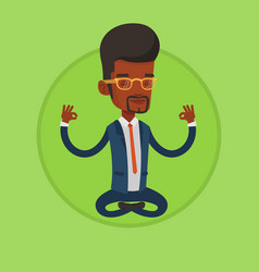 businessman meditating in lotus position vector image vector image