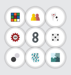 flat icon entertainment set of chequer poker ace vector image vector image