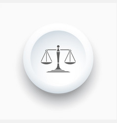 scales of justice icon on a simple white button vector image