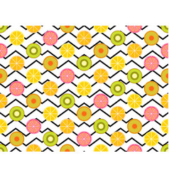 seamless pattern with oranges kiwi and lemon vector image vector image