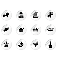 Stickers with swedish icons vector image vector image