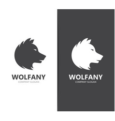 wolf and predator logo combination vector image vector image