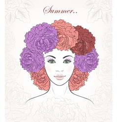 Romantic girl with peonies hair vector image vector image