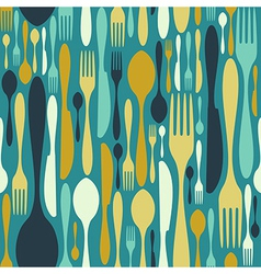 Seamless cutlery pattern in blue vector image