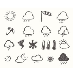 Set weather icons hand drawn vector image