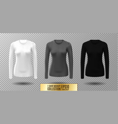 long sleeve blank shirt white gray and vector image