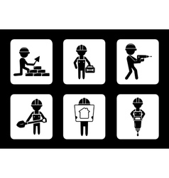 set construction icons with builders vector image vector image