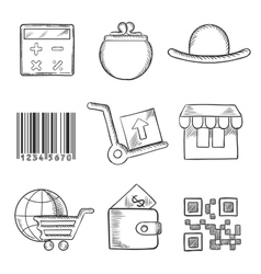 Set of retail and shopping sketch icons vector image