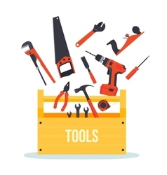 Tools box with instruments vector image vector image