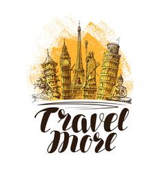 travel journey banner famous world landmarks vector image
