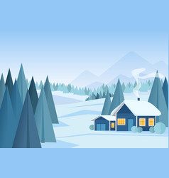 beautiful christmas winter snowy landscape vector image