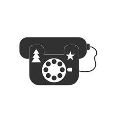Black icon on white background landline phone vector