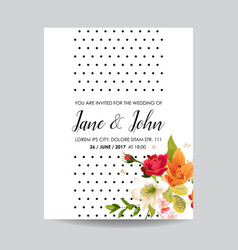 card with watercolor lily flowers for wedding vector image vector image