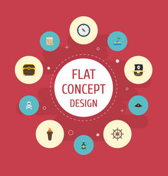 flat icons treasure map ship steering wheel palm vector image vector image