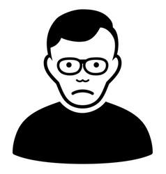 Sad pensioner black icon vector