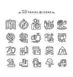 Set of Black Travel Icons on White Background vector image