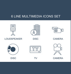 6 multimedia icons vector