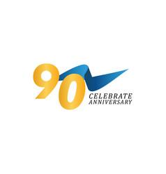 90 years anniversary celebration elegant ribbon vector