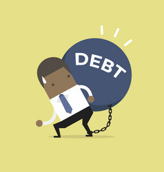african businessman carry debt financial concept vector image